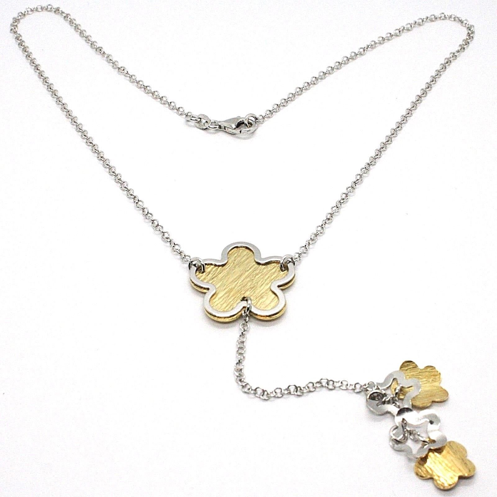 SILVER 925 NECKLACE, CHAIN ROLO', FLOWER, DAISIES HANGING, BICOLOR
