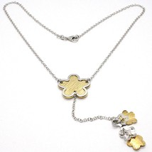 SILVER 925 NECKLACE, CHAIN ROLO', FLOWER, DAISIES HANGING, BICOLOR image 1