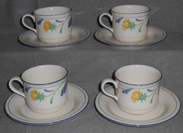 Set (4) Lenox BUTTERCUPS ON BLUE PATTERN Cups and Saucers MADE IN USA - $19.79