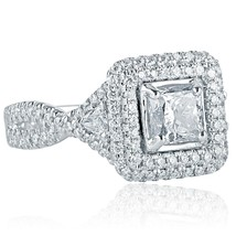 2.00 TCW Princess Cut Trillion Side Diamond Engagement Ring 18k White Gold - $3,959.01