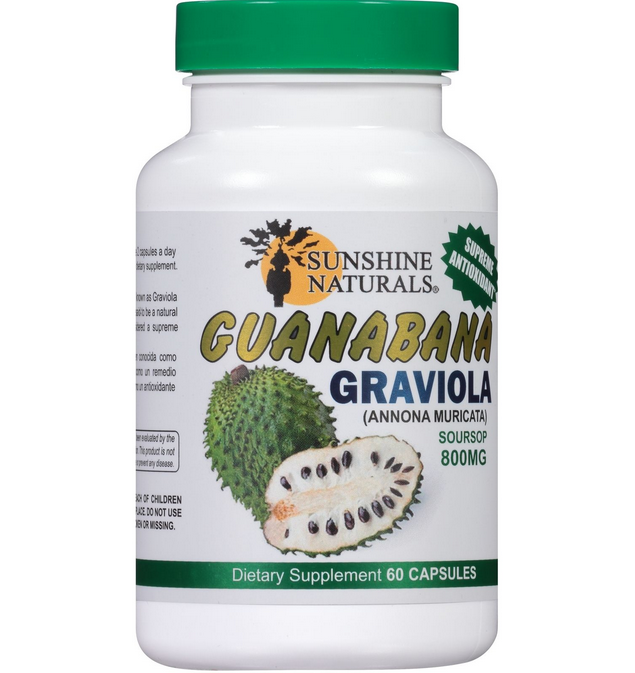 Guanabana Sunshine Naturals 800 mg Graviola Soursop Dietary Supplement