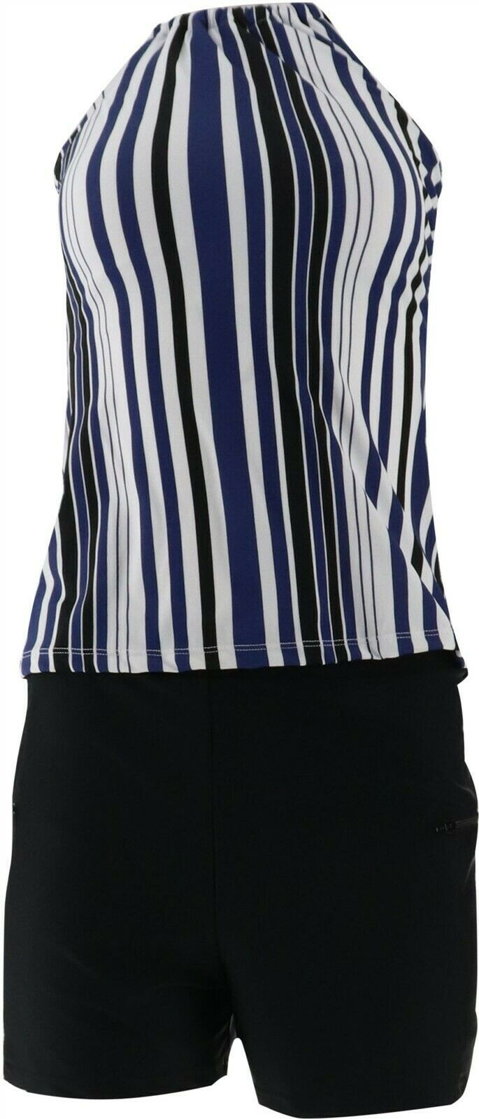 Primary image for Isaac Mizrahi Striped Halterkini Swim Short Navy Black 10 NEW A303689