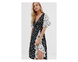ASOS Influence Frill Skirt Detail Midi Polka Dot Dress Size US 6 NWT - $29.69