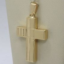 Yellow Gold Cross Pendant 750 18k, Square, finely worked, Italy Made image 5