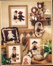 1984 Stuffed Ted Rose Bab E. Bear & Pillow Quilt Hoop Framed Bears Sew P... - $12.99