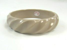 Vintage Plastic Bangle Bracelet Western Germany Tan Swirl 33679 1950s - $29.69