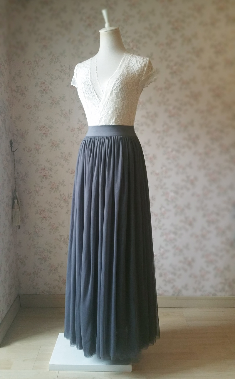DARK GRAY Maxi Tulle Skirt For Wedding Dark Grey Wedding Bridesmaid Skirt,wd398