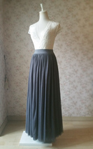 DARK GRAY Maxi Tulle Skirt For Wedding Dark Grey Wedding Bridesmaid Skirt,wd398 image 2
