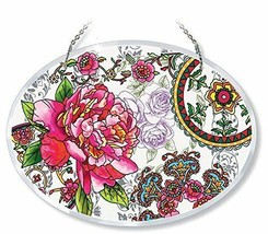 """Peony Floral Sun Catcher AMIA Beveled Hand Painted Glass 6.5"""" x 9"""" Retir... - €30,65 EUR"""
