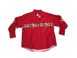 Wrangler XXL 2XL Long Sleeve Snap Shirt Cowboy Bull Riding Bucking Rodeo... - $30.00