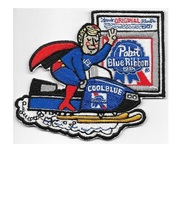Snowmobile Beer Pabst Beer Blond Cool Blue First at Finish Line 1970's A... - $9.99