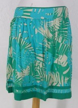 ANN TAYLOR LOFT Woven Cotton Full Skirt 4 S Above Knee Green Tropical Print - $14.99