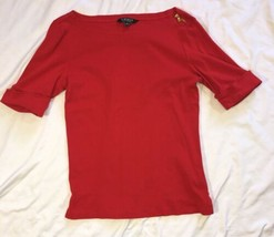 Womens Ralph Lauren 1/4 Sleeve Shirt Zipper Detail Size Medium Red - $9.74