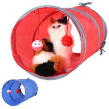 Folding Pet Cat Tunnel Kitten Toy Play Fun With Ball Printed Scratch Pla... - $8.64