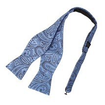 DBA7B05E Cornflower Blue Brown Patterns Bow Tie Microfiber Friendship Fo... - $16.90