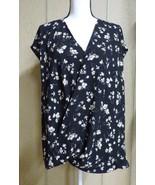 $89.00 Lauren Ralph Lauren Women's Faux Wrap Floral  Plus Size Top, Blac... - $27.97