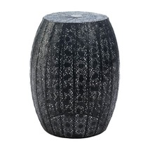 Portable Garden Stool, Modern Black Moroccan Lace Decorative Metal Garde... - £60.73 GBP
