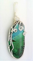 Chrysocolla Silver Copper Wire Wrap Pendant 5 - $27.96