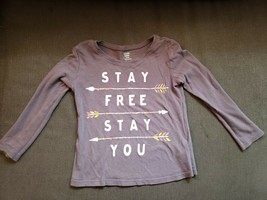 Old Navy Girls 4T Gray Long Sleeved Grey Shirt Stay Free Stay You - $11.83