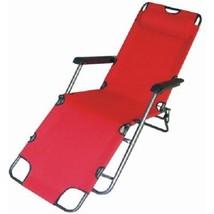 Folding Reclining Red Garden Deck Chair Outdoor Camping Beach Garden Sun... - $33.60
