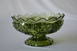 "Fenton Hobnail Colonial Green Candle Bowl # 3872 CG 6 1/2"" Top Diameter - $14.85"