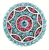 Blue Pink Rhinestone 18mm Snap Button Charm For Ginger Snaps Magnolia Je... - $6.88