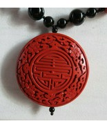 "Fine Vtg Chinese Carved Red Cinnabar Black Onyx Beads 28"" Beaded Necklac... - $316.79"
