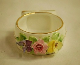 Old Vintage Royal Adderley Bone China Napkin Ring White Floral Gold Trim... - $19.79