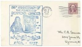196th Anniversary of Founding of Richmond Shacco Virginia Cover! VA Gree... - $4.99