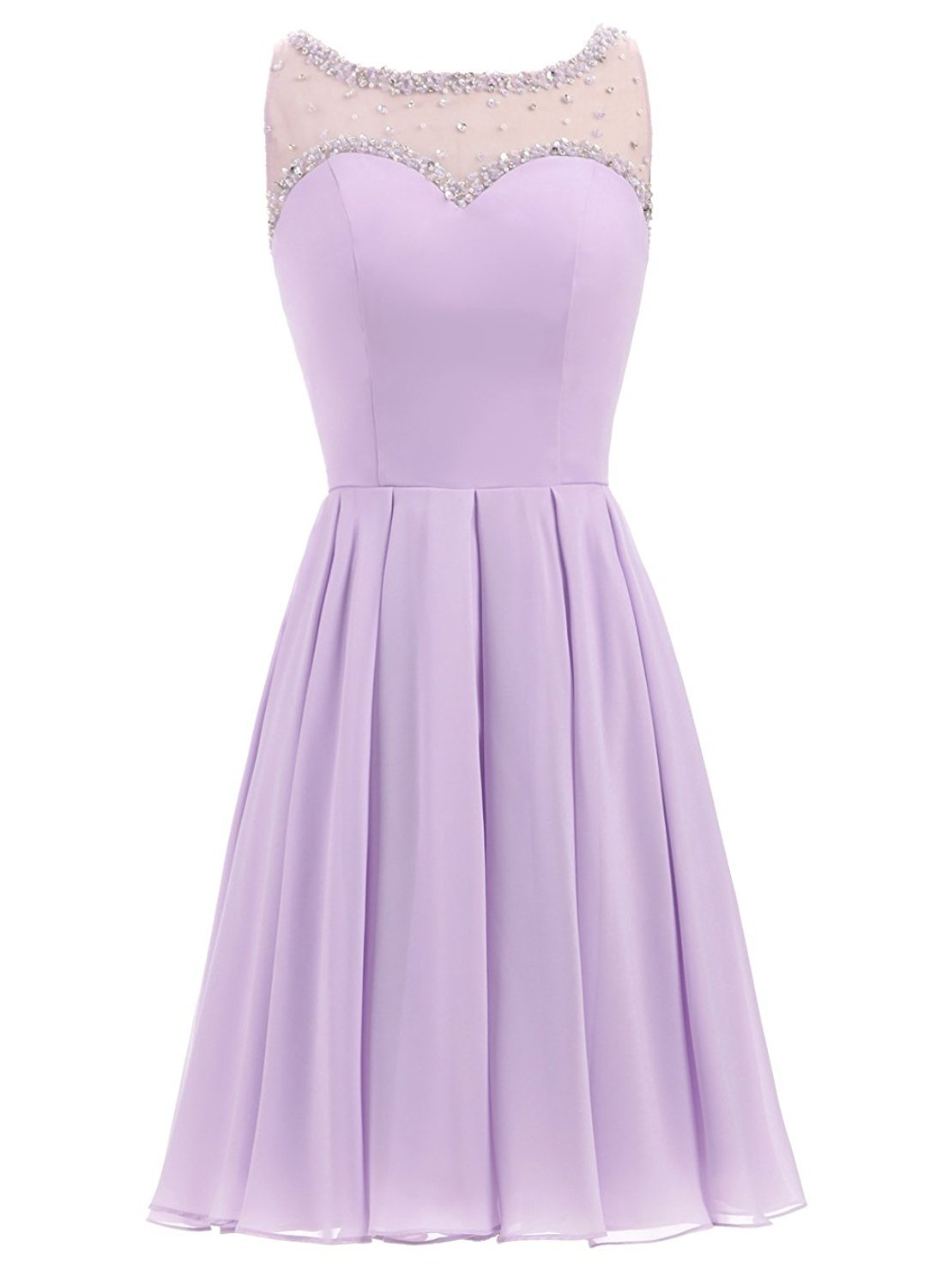 Primary image for Chiffon Short Homecoming Dresses Beaded Cocktail Party Gown with Sheer Neckline