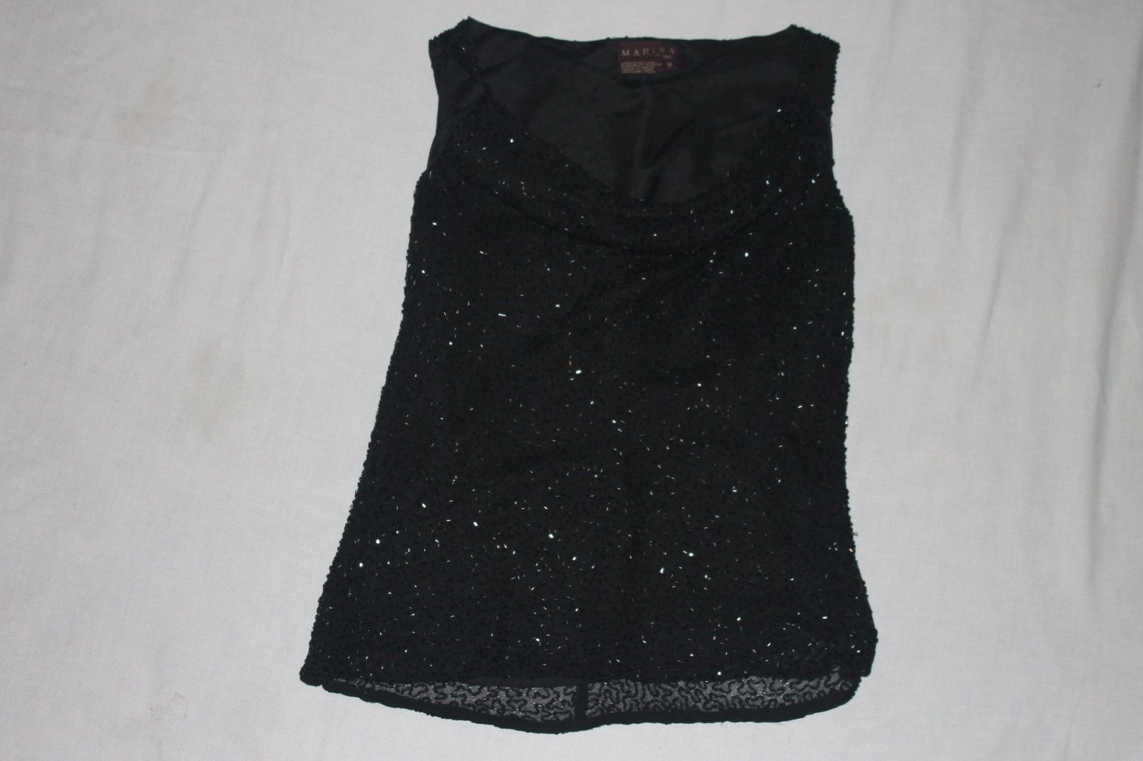 Primary image for Marina by Marina Bresler 100% silk Black sequin lwomans top Size M