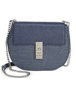 INC Women's Sendra Twill Metallic Shoulder Handbag Chain Strap Blue Smal... - €37,35 EUR