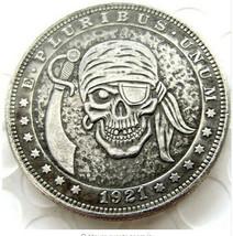 Hobo Nickel 1921 Dollar Skull Pirate Sword Skeleton Cross Axes Casted Coin - $9.49