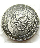 Hobo Nickel 1921 Dollar Skull Pirate Sword Skeleton Cross Axes Casted Coin - $12.70 CAD