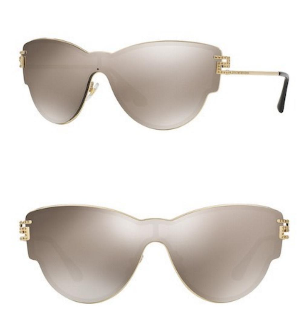 20b3102380 NEW GIANNI VERSACE CAT EYE GOLD CRYSTAL METAL SUNGLASSES 2172-B W CASE -  ITALY -  175.00