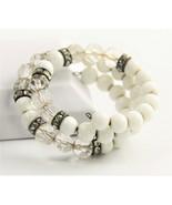 "7"" ESTATE VINTAGE Jewelry MILK GLASS CRYSTAL RHINESTONE RONDELLE COIL BR... - $30.00"