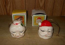 Vintage Chadwick Miller Santa Claus and Mrs Santa Christmas Bell Ornaments - $24.17