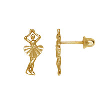 Ballerina Dancing Child Stud Earrings Screw Back 14K Solid Yellow Gold - $56.12