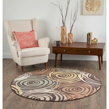 Round Contemporary Transitional Abstract Brown Area Rug  **FREE SHIPPING** - €87,69 EUR+