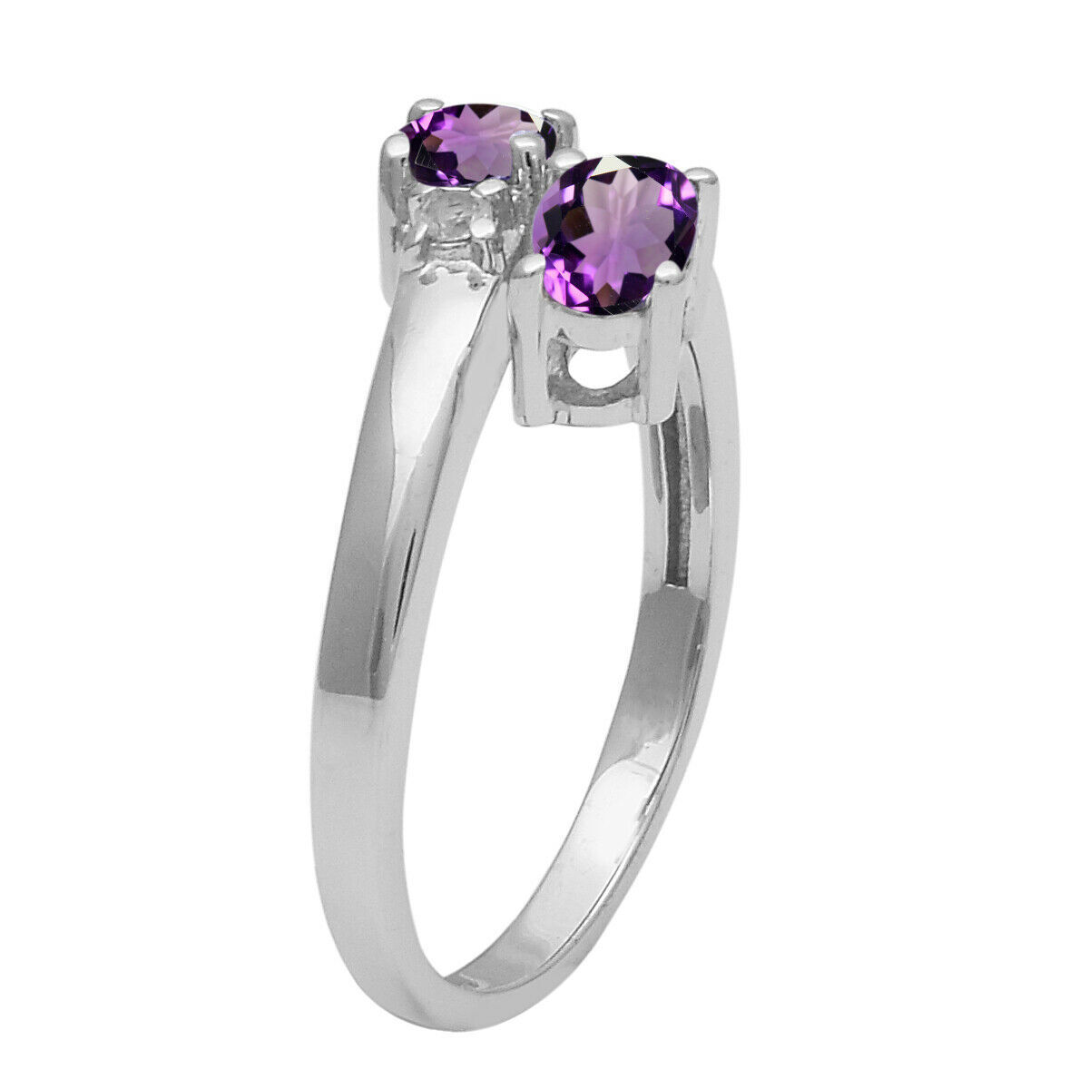 Primary image for Solid 925 Sterling Silver 0.86 Ctw Amethyst Dual Gemstone Stackable Wedding Ring