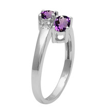 Solid 925 Sterling Silver 0.86 Ctw Amethyst Dual Gemstone Stackable Wedd... - $14.70