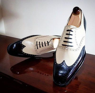 Handmade Men's Wing Tip Brogue Style White And Black Leather Oxford Shoes