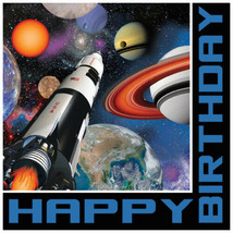 Space Blast 16 Lunch Napkins Rocket Happy Birthday - $4.79