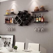 Set of 5 Wall Mount Wine Rack Set with Storage - £71.39 GBP