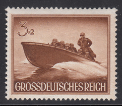 1944 WWII Assault Boat Germany Postage Stamp Catalog Number B257 MNH