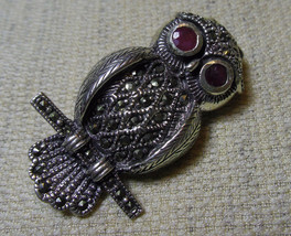 925 Sterling Silver Heavy Marcasite Owl Pendant Brooch (Hallmarked In The Uk) - $138.59