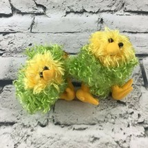 Department Chicks Chickens Lot Of 2 Mini Plush yellow Green Shaggy Easter Spring - $9.89