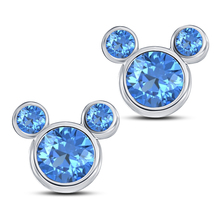 Women's Swirl Stud Earrings Blue Topaz White Gold Over Pure 925 Sterling... - £27.77 GBP