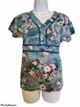 Barco Uniforms Womens Scrub Top Shirt Floral Medical Vet  - $10.89