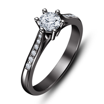 Womens Diamond Solitaire With Accents Engagement Ring 925 Sterling Solid... - £53.45 GBP